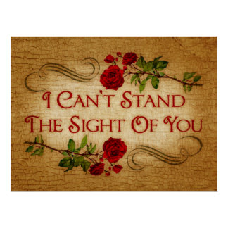 I Can t Stand The Sight Of You Poster