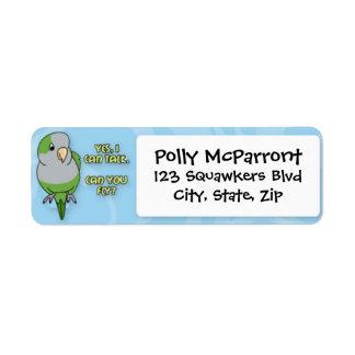 I Can Talk Quaker Parakeet Return Address Label