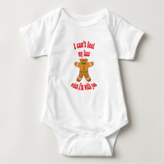 I can't feel my face - funny Christmas gingerbread Baby Bodysuit
