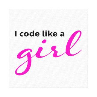 I code like a girl canvas print