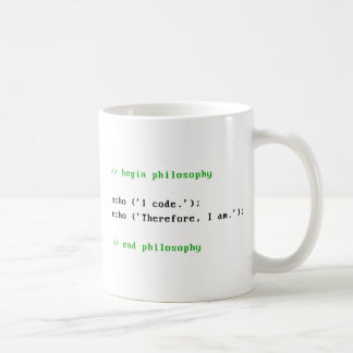 I Code. Therefore, I am. Programmer's Philosophy. Coffee Mug