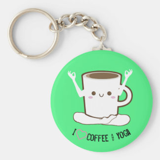 I ❤ Coffee and Yoga Key Ring