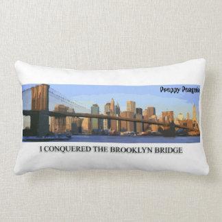 I Conquered the Brooklyn Bridge Preppy Penguin Lumbar Cushion