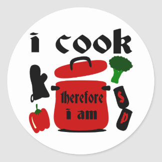 I Cook, Therefore I Am With Big Red Pot And Lid Round Sticker
