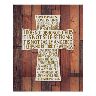 I Corinthians 13:4-8 Bible Verse Love is Patient Poster