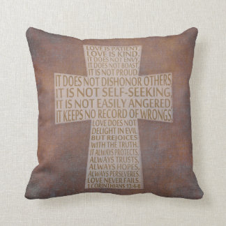 I Corinthians 13 Love Chapter Cross Rustic Pillow