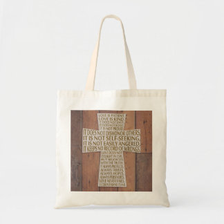 I Corinthians 13 Love Chapter Cross Rustic Tote