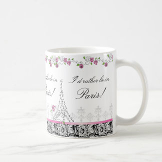 I d rather be in Paris coffee mug black white