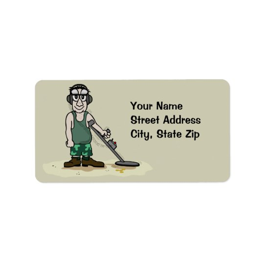 I Dig Booty Metal Detecting Guy Treasure Hunter Address Label