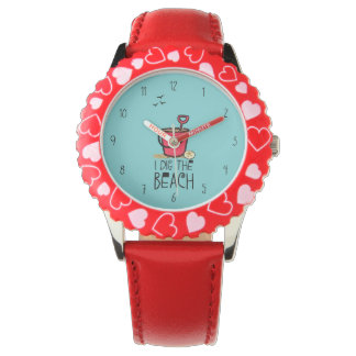 I dig the beach red pail wrist watch