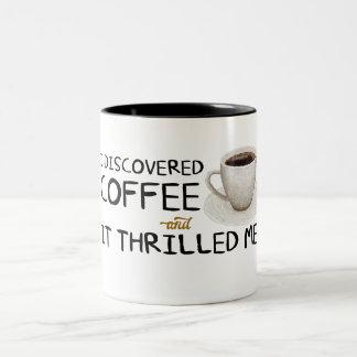 """I Discovered Coffee"" Two-Tone Mug"