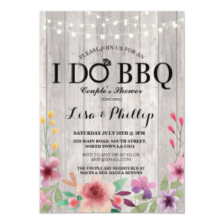 I DO BBQ Engagement Party Couple's Shower Floral 13 Cm X 18 Cm Invitation Card