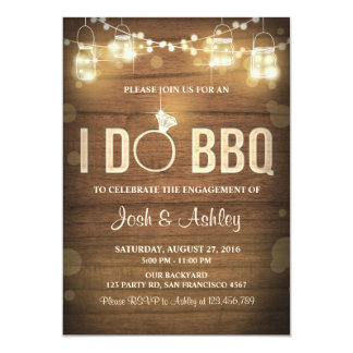 I Do BBQ Engagement Party Couples shower Rustic 13 Cm X 18 Cm Invitation Card