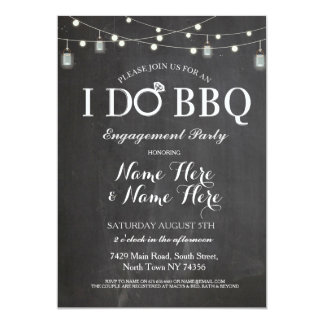 I DO BBQ Engagement Party Lights Jars Invite