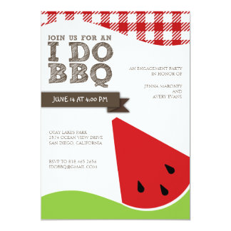 I Do BBQ Engagement Party with Watermelon Art Card