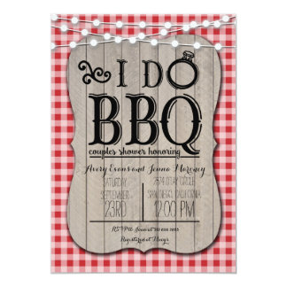 I Do BBQ Red Gingham Couples Shower in Wood Card