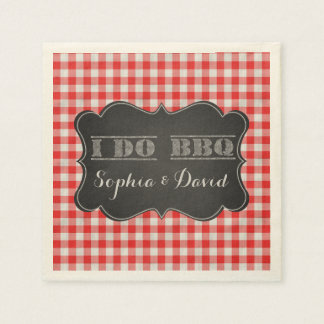 I DO BBQ Rustic Engagement Party Disposable Napkin