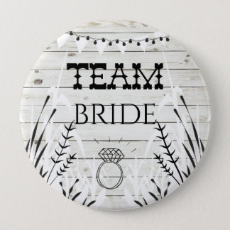I Do BBQ Wood Texture Team Bride Button