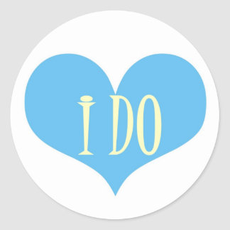 I DO BLUE HEART SEAL,MATCHING POSTAGE STAMPS ROUND STICKER