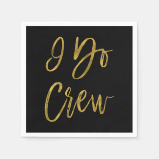 I Do Crew Faux Gold Foil and Black with Heart Disposable Serviette