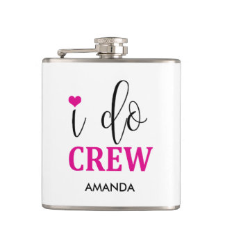 """I do Crew"" Hot Pink Cute Bridal Party Flask"