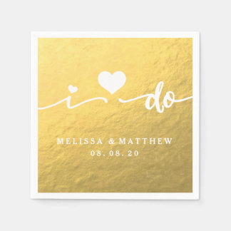 I Do Gold Glamor Wedding Paper Napkin