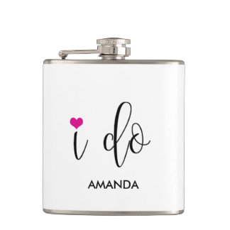 """I Do"" Hot Pink Cute Bridal Party Flask"