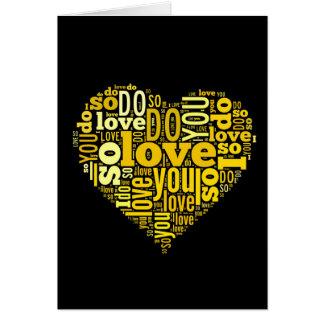 I do Love You Yellow Black Heart Shape Lyrics Art Card