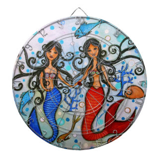 I do, Mermaid Couple Painting by Prisarts Dartboards