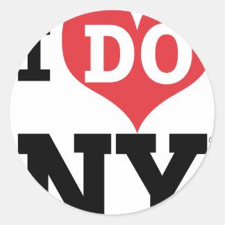 I DO NY heart Round Sticker