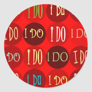 I DO RED DOTS SEAL MATCHES POSTAGE STAMPS ROUND STICKER