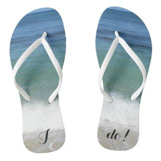 """""""I Do"""" Tropical Beach Flip Flops"""