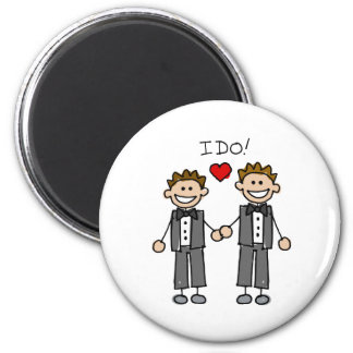 I Do Two grooms 6 Cm Round Magnet