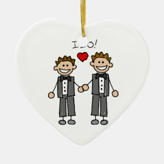I Do Two grooms Ceramic Heart Decoration