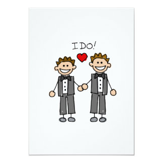 I Do Two grooms 5x7 Paper Invitation Card