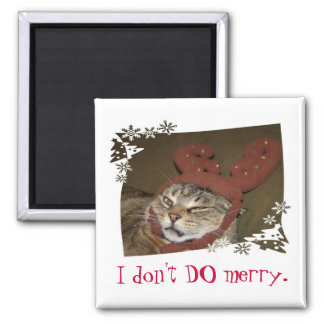 I don t DO merry Cat with Antlers Magnet