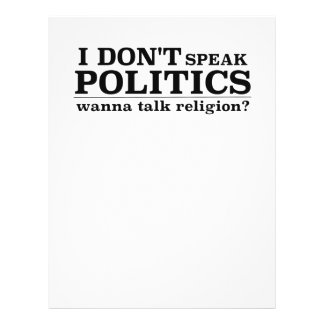 I Don't Speak Politics Wanna Talk Religion 21.5 Cm X 28 Cm Flyer