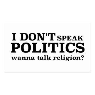 I Don't Speak Politics Wanna Talk Religion Pack Of Standard Business Cards