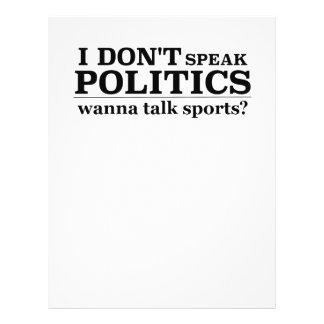I Don't Speak Politics Wanna Talk Sports 21.5 Cm X 28 Cm Flyer