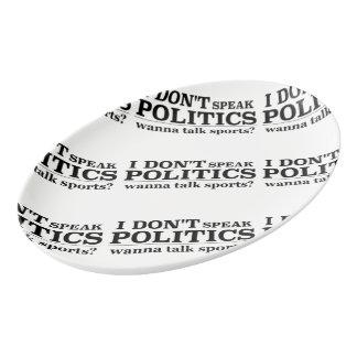 I Don't Speak Politics Wanna Talk Sports Porcelain Serving Platter