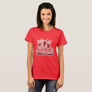 i dont care cartoon style cat T-Shirt