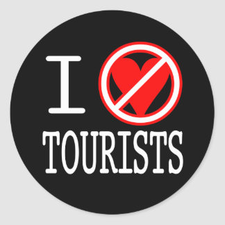 I (don't) heart tourists round sticker