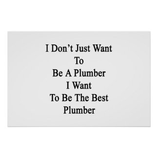 I Don't Just Want To Be A Plumber I Want To Be The Poster