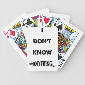 I Don't Know Anything Bicycle Playing Cards