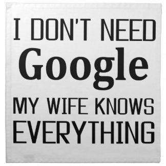 I Don't Need Google Napkin