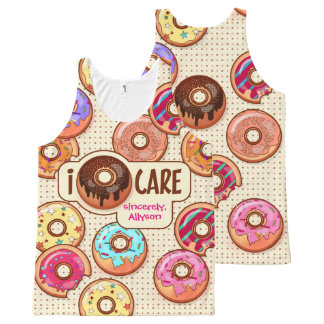 I Donut Care Cute Funny Humorous Sweet Donuts Love All-Over Print Singlet