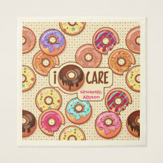 I Donut Care Cute Funny Humorous Sweet Donuts Love Disposable Napkin