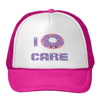I donut care cute kawaii doughnut pun emoji cap