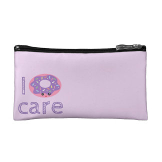 I donut care cute kawaii doughnut pun humor emoji cosmetic bag