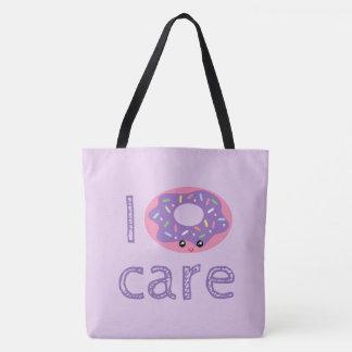 I donut care cute kawaii doughnut pun humor emoji tote bag